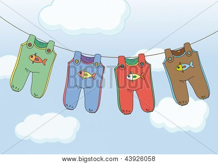 Illustration of the four jumpsuits hanging