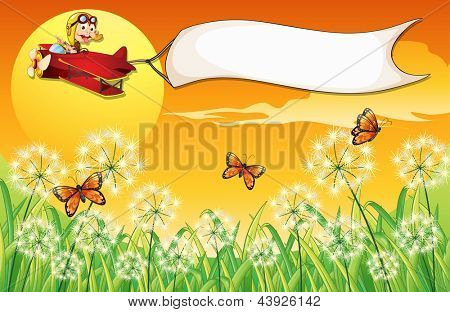 Illustration of a white banner carried by the monkey riding in a plane