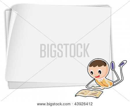 Illustration of a bondpaper with a boy on a white background