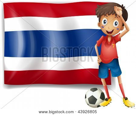 Illustration of a football player in front of the Thailand flag on a white background