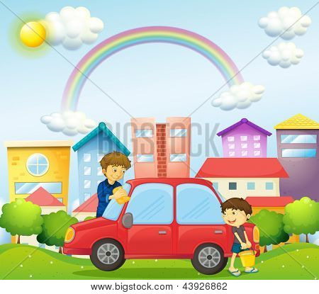 Illustration of a father and son cleaning the red car