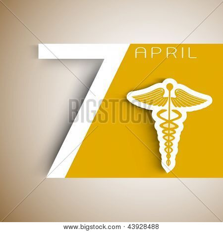 World health day background with caduceus medical symbol and text 7 April.