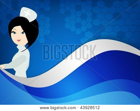 International nurse day concept with illustration of a nurse on wave background.