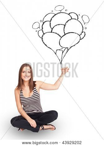 Happy young woman dolding balloons drawing