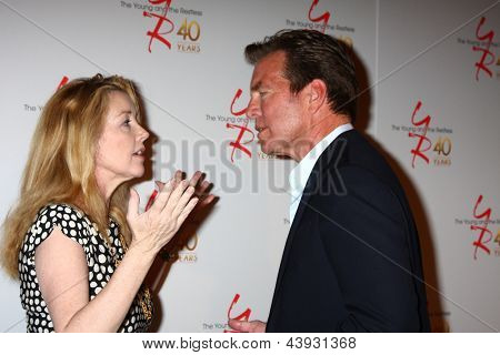 LOS ANGELES - MAR 26:  Melody Thomas Scott, Peter Bergman attends the 40th Anniversary of the Young and the Restless Celebration at the CBS Television City on March 26, 2013 in Los Angeles, CA