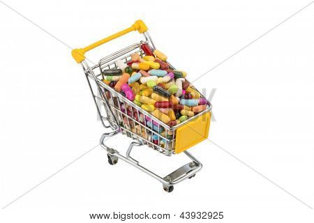tablets with cart. symbolic photo for the purchase of medicines on the internet