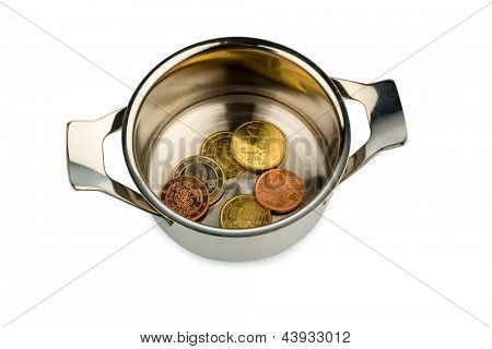a few euro coins in a pot, symbol photo for sovereign debt and financial needs