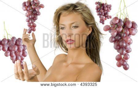 Red Grape Blond Girl