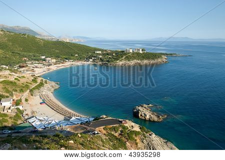 panorama on Jala Bay in the southern of albanian ionic coast