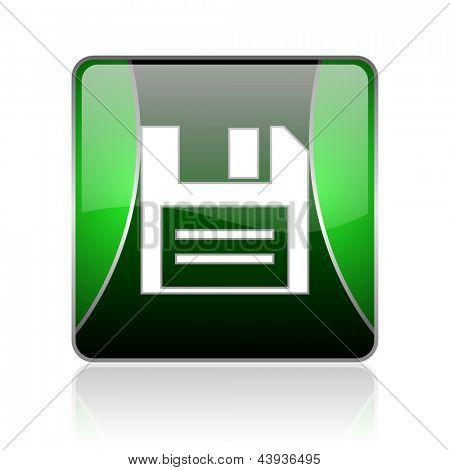 icono de internet cuadrado brillante negro y verde sobre fondo blanco con reflaction