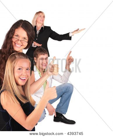 People Group Gesturing Showing