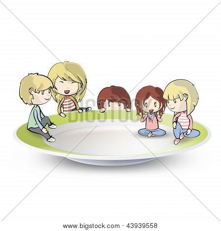 Kids On Plate On Isolated White Background. Vector Design.