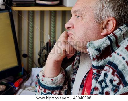 Portrait Of Sad Elderly Man