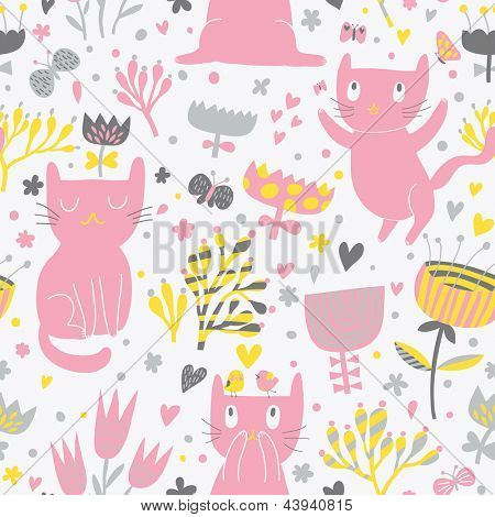 Romantic cartoon wallpaper. Childish background with funny cats and flower. Seamless pattern can be used for wallpapers, pattern fills, web page backgrounds, surface textures.