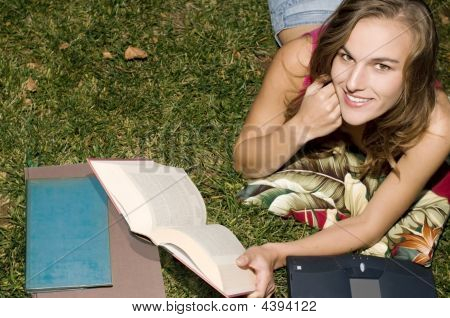 Studying In The Grass