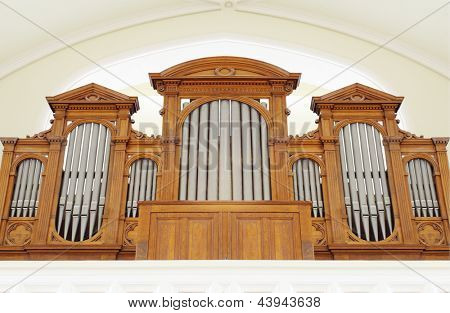 MOSCOW - APR 11: Part of pipe organ in Evangelical Lutheran Cathedral of Sts. Peter and Paul, Apr 11, 2012, Moscow, Russia. During period from 2004 to 2008 were carried out extensive restoration work.