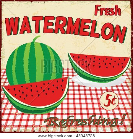 Watermelon Vintage Poster