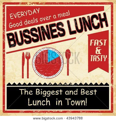 Vintage Bussiness Lunch Grunge Poster