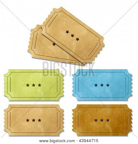 6 Cinema Ticket, Isolated On White Background