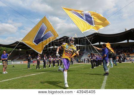 VIENNA, AUSTRIA - MAY 13: WR Valentin Schulz (#85 Vikings) runs on the football field on May 13, 2012 in Vienna, Austria.