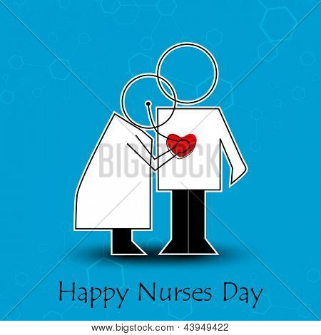 International nurse day concept with illustration of a nurse checking patient,