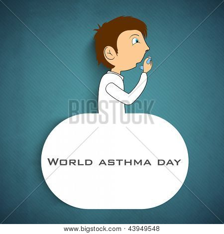 World asthma day background with a young man using inhaler and space for your text.