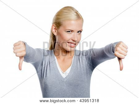 Girl thumbs down with two hands, isolated on white