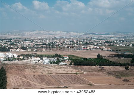 View Above Of Cypriot Settlement Near Big City In Cyprus Island