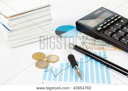 Calculator, Charts, Pen, Business Cards, Money, Workplace Businessman, Business