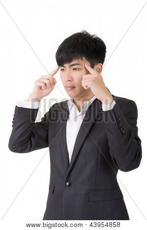 Asian businessman put his finger on head and think, closeup portrait on white background.