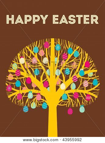 Yellow Happy Easter tree greeting card with eggs in cold colours. Vector Illustration