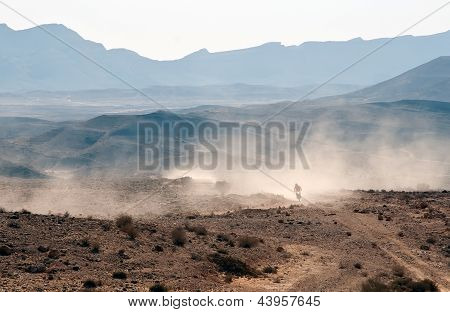 Bike Crossing A Stone Desert.