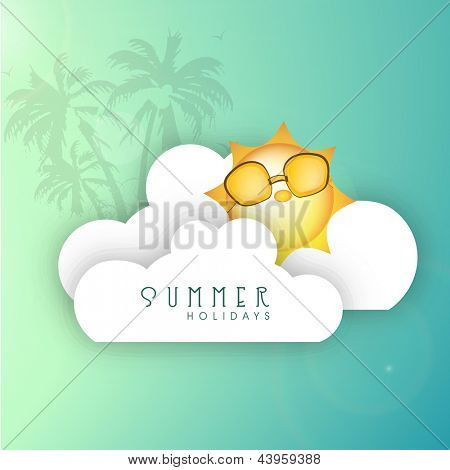 Summer background with cartoonish sun wearing goggles, clouds and palm trees.