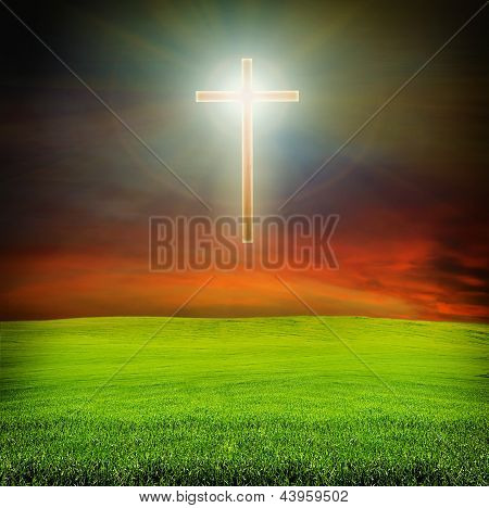 Shining Cross Over Dark Sky And Field