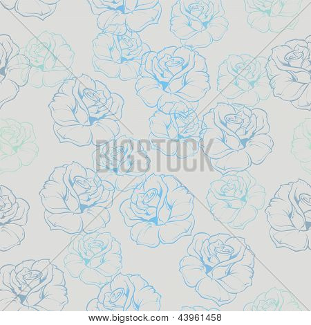 Seamless vector floral pattern with blue roses on grey background.