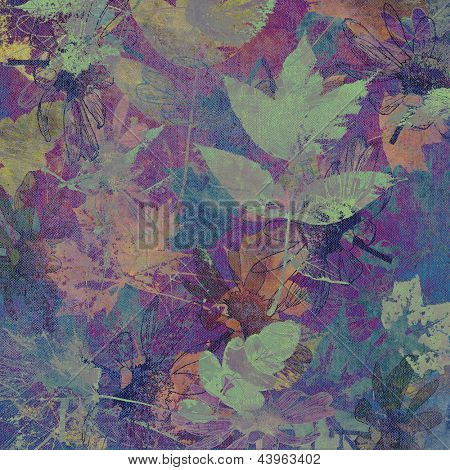 art leaves autumn background in blue color