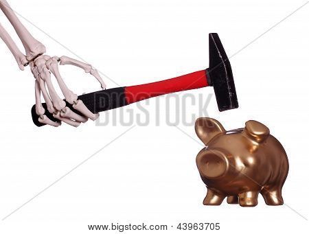 Skeleton Hand With Hammer And Golden Piggybank