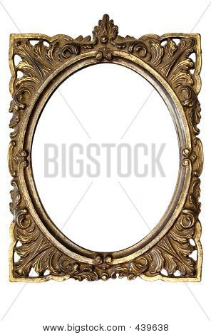 Dirty Old Ornamented Oval Picture Frame W/ Path