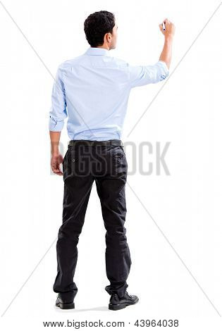 Business man writing with a marker - isolated over a white background