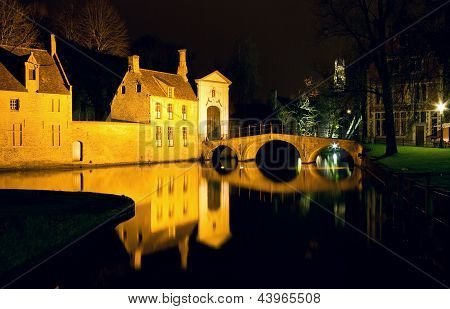The Bridge And The Convent Entrance In Bruges