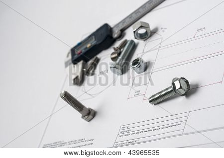 Vernier Caliper And Assorted Screw, Nuts And Bolts