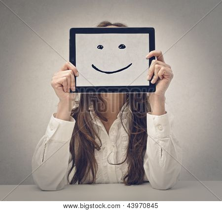 happy young woman with tablet