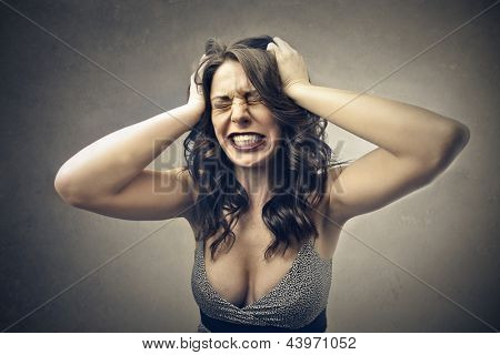 desperate woman with hand in the hair