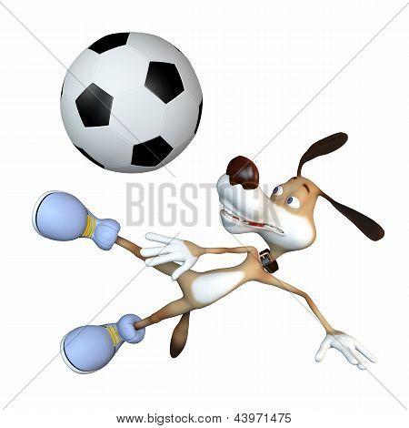 Amusing Dog Football Player.