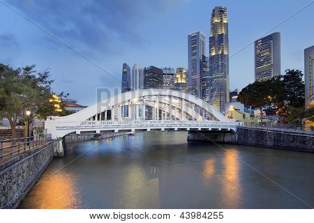 Singapore Skyline By Elgin Bridge Along River