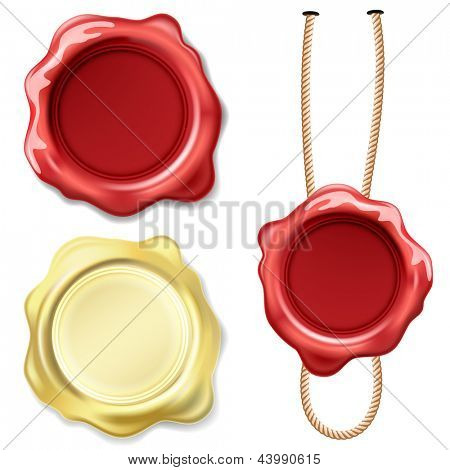 Illustration set seal wax isolated on white background. Vector.