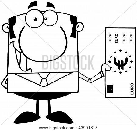 Outlined Smiling Business Man Holding A Euro Bill