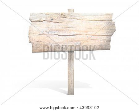 old wooden billboard. isolated on white.