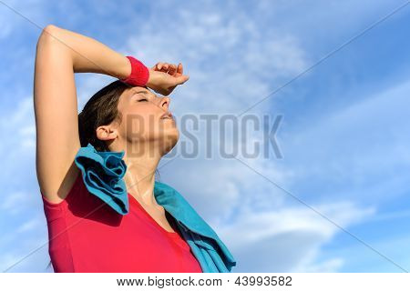Tired Fitness Woman Sweating