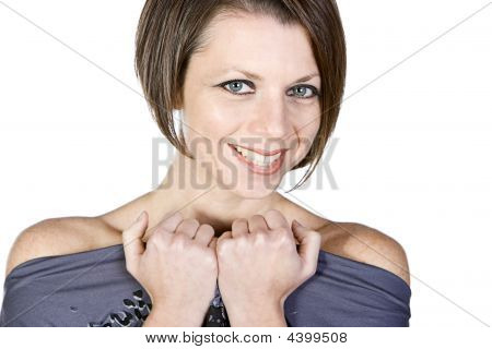 Attractive Brunette Woman With Beaming Smile